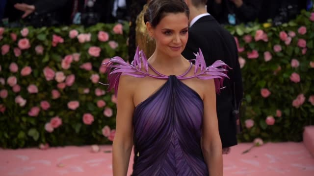 katie holmes at the 2019 met gala celebrating camp notes on fashion arrivals at metropolitan museum of art on may 06 2019 in new york city - met gala 2019 stock videos and b-roll footage