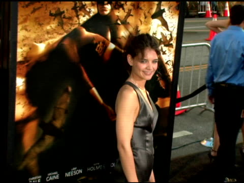 katie holmes at the batman begins premiere at grauman's chinese theatre in hollywood california on june 6 2005 - katie holmes stock videos and b-roll footage