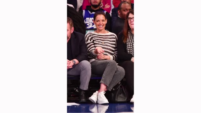Katie Holmes attends Washington Wizards v New York Knicks game at Madison Square Garden on April 7 2019 in New York City