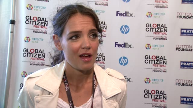 INTERVIEW Katie Holmes on coming out tonight on why the festival is important On feeling optimistic that we can end extreme poverty around the world...