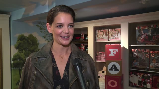 interview katie holmes on partnering with fao on her memories of fao store on supporting kaboom wearing ralph lauren on her upcoming project at katie... - bergdorf goodman stock videos and b-roll footage