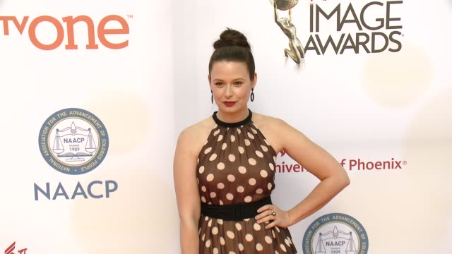 stockvideo's en b-roll-footage met katie lowes at the 46th annual naacp image awards arrivals at pasadena civic auditorium on february 06 2015 in pasadena california - pasadena civic auditorium