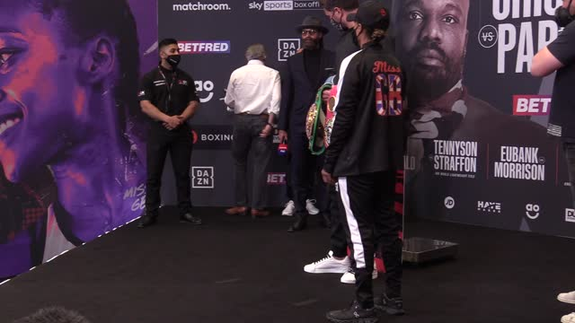 vídeos de stock e filmes b-roll de katie taylor and natasha jonas weigh-in ahead of their bout for the wbc, wba, ibf and wbo lightweight titles at the manchester arena on saturday... - lightweight