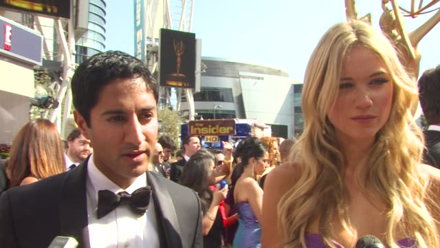 katrina bowden maulik pancholy on being nominated what they're wearing and why what the emmys are like what parties they're hitting who else they're... - maulik pancholy stock videos and b-roll footage