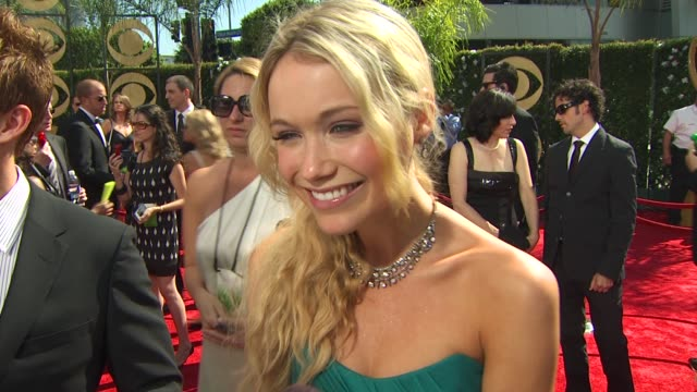 katrina bowden on her show's nomination how long it took to get ready who will speak on the show's behalf her dress at the 61st annual primetime emmy... - katrina bowden stock videos and b-roll footage