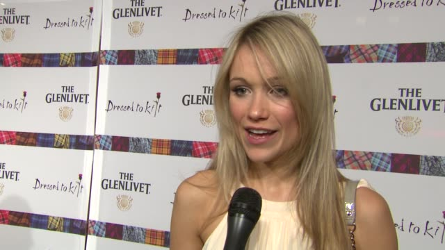 katrina bowden talks about walking on the runway tonight at the 9th annual dressed to kilt charity fashion show at new york ny - katrina bowden stock videos and b-roll footage