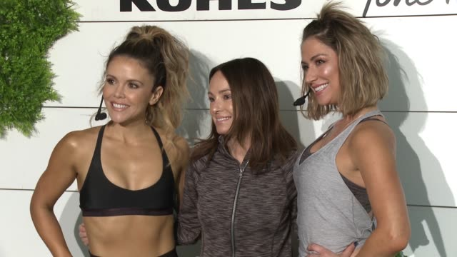 katrina scott catt sadler karena dawn at behindthescenes at kohl's x studio tone it up workout event at barker hangar in santa monica ca january 13... - kohls stock videos & royalty-free footage