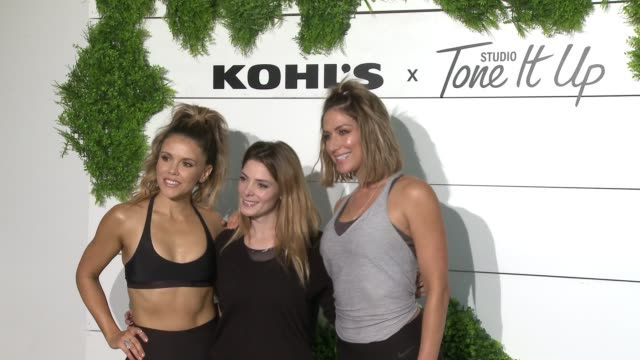 katrina scott karena dawn ashley greene at behindthescenes at kohl's x studio tone it up workout event at barker hangar in santa monica ca january 13... - kohls stock videos & royalty-free footage