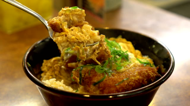 katsudon - japanese breaded deep fried pork cutlet (tonkatsu) topped with egg - donburi stock videos and b-roll footage