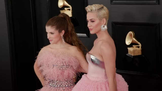 Katy Perry and Anna Kendrick at the 61st Grammy Awards Arrivals at Staples Center on February 10 2019 in Los Angeles California EDITORIAL