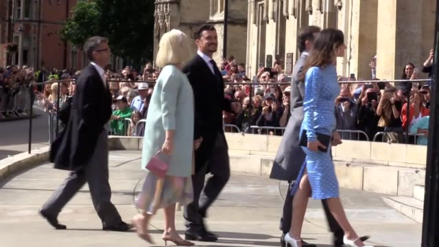 katy perry and orlando bloom arrive for the wedding of pop star ellie goulding to caspar jopling at york minster - orlando bloom stock videos & royalty-free footage