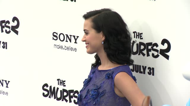katy perry at 'smurfs 2' los angeles premiere on 7/28/2013 in westwood, ca. - westwood video stock e b–roll