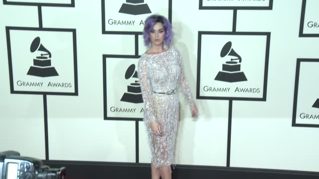 katy perry at the 57th annual grammy awards red carpet at staples center on february 08 2015 in los angeles california - 2015 stock-videos und b-roll-filmmaterial