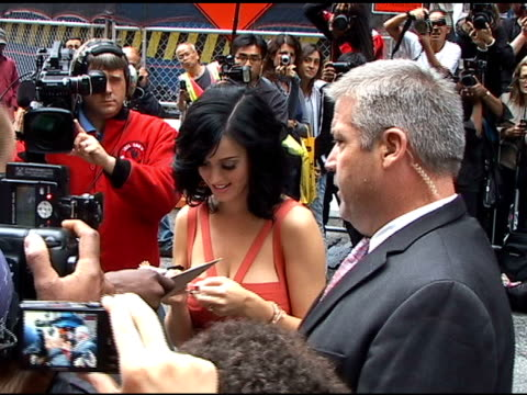 katy perry at the 'late show with david letterman' studio at the celebrity sightings in new york at new york ny - celebrity sightings stock videos & royalty-free footage