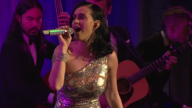 performance katy perry at the ninth annual unicef snowflake ball at cipriani wall street on in new york city - 2013 stock videos & royalty-free footage
