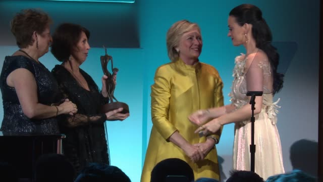 speech katy perry receives her award from hillary clinton and talks about her efforts to help at 12th annual unicef snowflake ball at cipriani wall... - cipriani manhattan stock videos & royalty-free footage