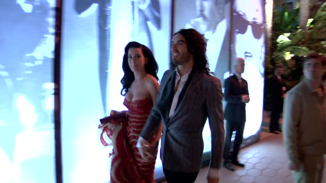 katy perry russell brand at the 2010 vanity fair oscar party hosted by graydon carter at west hollywood ca - 2010 stock videos & royalty-free footage