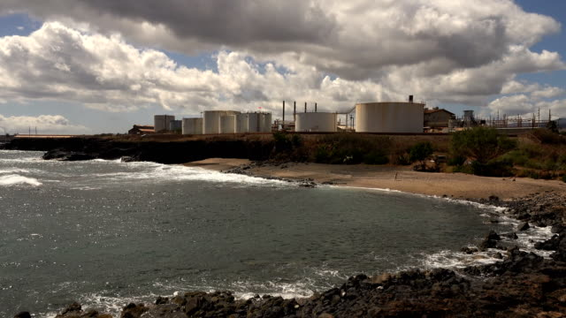 kauai island power station on bay of water - butte rocky outcrop stock videos & royalty-free footage