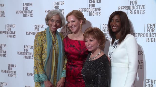 Kavita Ramdas Nancy Northup Isabel Allende and Kathleen Tait at Center For Reproductive Rights Gala at Jazz at Lincoln Center on October 25 2016 in...