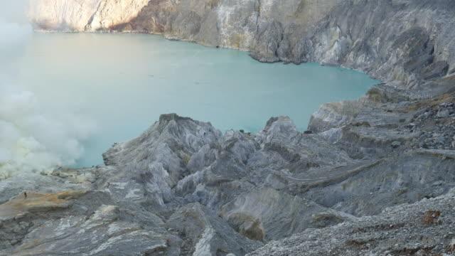 vídeos y material grabado en eventos de stock de kawah ijen crater lake que el azufre - java