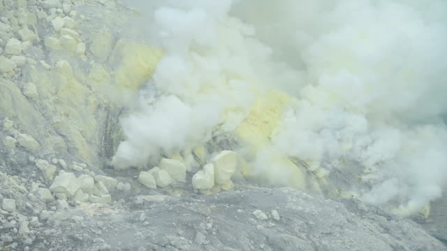 kawah ijen volcano crater landmark nature travel place of indonesia - heat haze stock videos & royalty-free footage