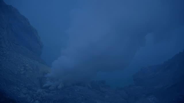 kawah ijen volcano crater landmark nature travel place of indonesia - sulphur stock videos & royalty-free footage