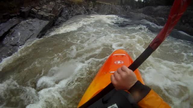 POV of kayaker descending turbulent mtn river