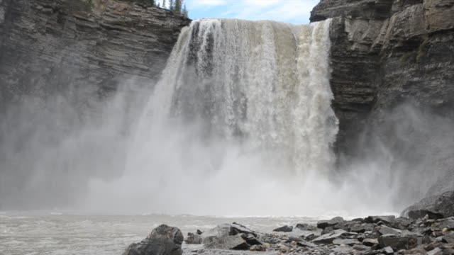kayaker descends giant waterfall, hits bottom - waterfall stock videos & royalty-free footage