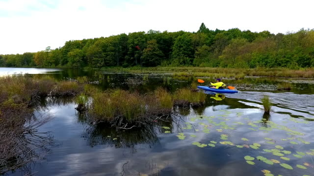 kayaker on remote lake in the upper peninsula of michigan from above - only mature men stock videos & royalty-free footage