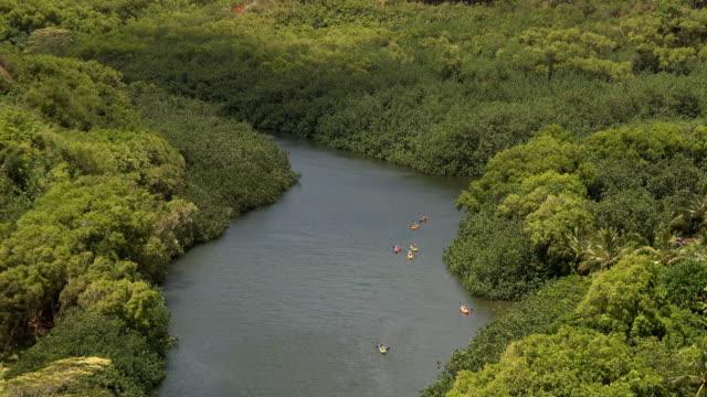 vídeos de stock e filmes b-roll de kayakers on river - alto contraste