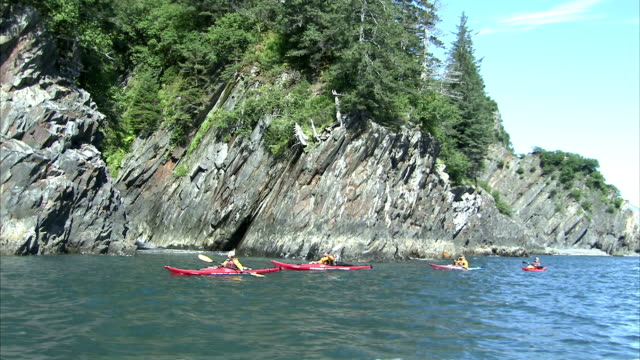 stockvideo's en b-roll-footage met kayakers paddle past rocky cliffs off the coast of kenai peninsula, alaska. - peddel