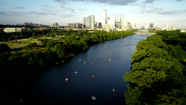 kayakers summer on lady bird lake austin texas 2019 - river colorado stock videos & royalty-free footage