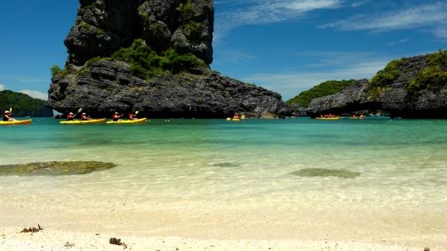 kayaking at angthong islands, koh samui, suratthani, thailand - kayaking stock videos and b-roll footage