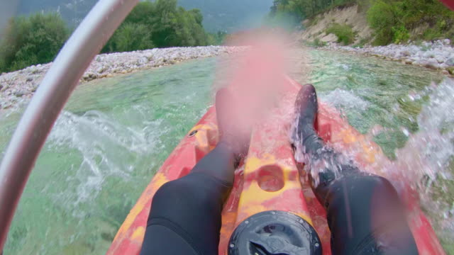pov kayaking down the river - canoe stock videos & royalty-free footage