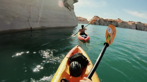 pov kayaking in canyons of powell lake recreational area - point of view stock videos & royalty-free footage