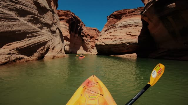 pov kayaking in canyons of powell lake recreational area - personal perspective stock videos & royalty-free footage