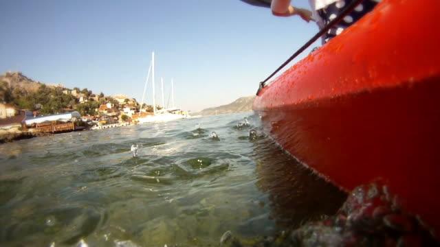 kayaking in the sea toward mediterranean islands - oar stock videos & royalty-free footage