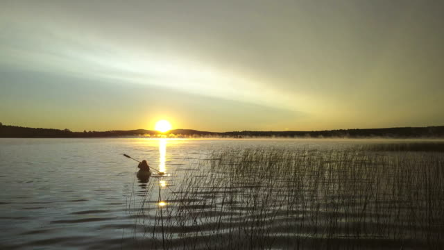 kayaking into the sunrise - maine stock videos & royalty-free footage