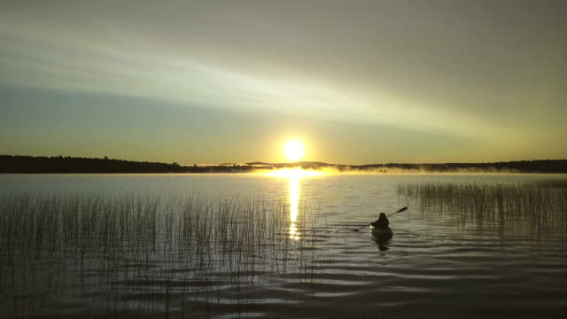 kayaking into the sunrise - following moving activity stock videos and b-roll footage
