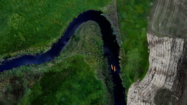 Kayaking on a wild river. Aerial view