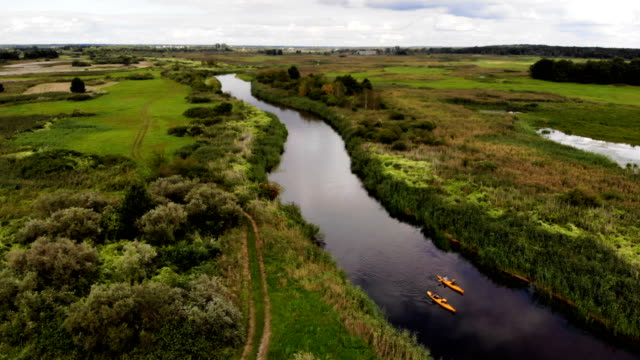 kayaking on a wild river. aerial view - estuary stock videos & royalty-free footage