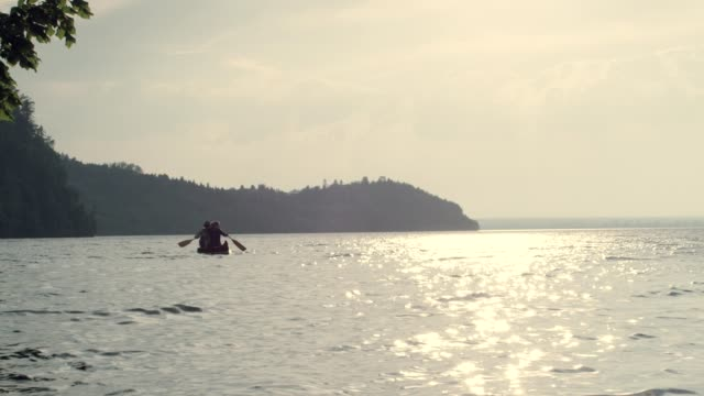 kayaking on the lake - remare video stock e b–roll
