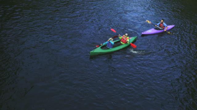kayaking, rur river, north eifel territory, eifel region, germany, europe - water sport stock videos and b-roll footage