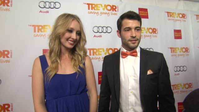 kayla radomski and kyle robinson on why they support the trevor project and why katy perry is deserving of the trevor hero award at the trevor... - the trevor project stock videos and b-roll footage