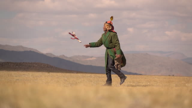 kazakh eagle hunters in mongolia compete at golden eagle festival - traditionell festival stock-videos und b-roll-filmmaterial