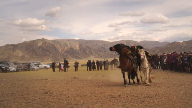 kazakh eagle hunters in mongolia play kokbar game at golden eagle festival - 遊牧民族点の映像素材/bロール