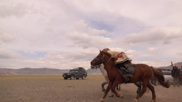 kazakh eagle hunters in mongolia play kokbar game at golden eagle festival - animale da lavoro video stock e b–roll
