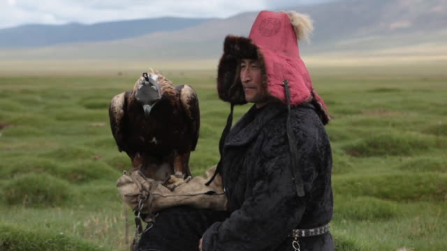 stockvideo's en b-roll-footage met kazakh man with golden eagle on his arm and mountain landscape on the background - mongolië