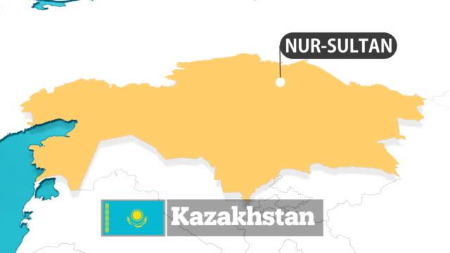 kazakh map with flag - kazakhstan stock videos & royalty-free footage