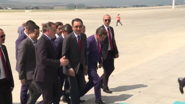 kazakh prime minister bakytzhan sagintayev is welcomed by turkish youth and sports minister osman askin bak upon his arrival at esenboga airport in... - governmental occupation stock videos & royalty-free footage